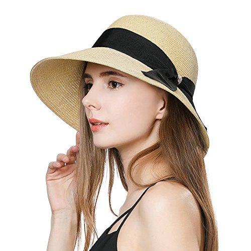 Straw Sun Hat for Women Fedora Summer Beach Accessories Wide Brim Packable Bucket Cloche (Brim Cloche)