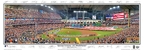 World Series Panoramic Photo - 2017 World Series MAJESTY Houston Astros Minute Maid Park with Signature Field Stadium - 13.5x39 Panoramic Poster. Frame Dimensions 15.5x41 Deluxe Black Wood Frame with Plexi Glass #2119