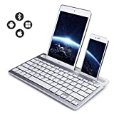 Bluetooth Keyboard, Dual Channel Multi-Device Universal Wireless Bluetooth Rechargeable Keyboard Sturdy Stand Tablet Smartphone PC Windows Android iOS Mac(Silver)