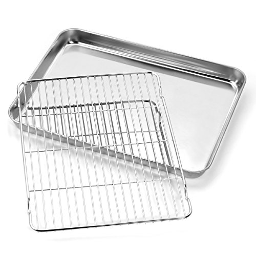 Baking sheets and Rack Set, Zacfton Cookie pan with Nonstick Cooling Rack & Cookie sheets Rectangle Size 12 x 10 x 1 inch,Stainless Steel & Non Toxic & Healthy,Superior Mirror Finish & Easy Clean by Zacfton (Image #2)