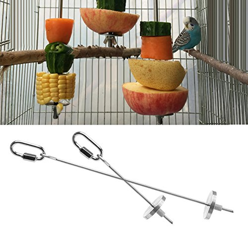 Efferre Field Stainless Steel Bird Parrot Cage Skewer Food Meat Stick Spear Fruit Holder Toy (S)