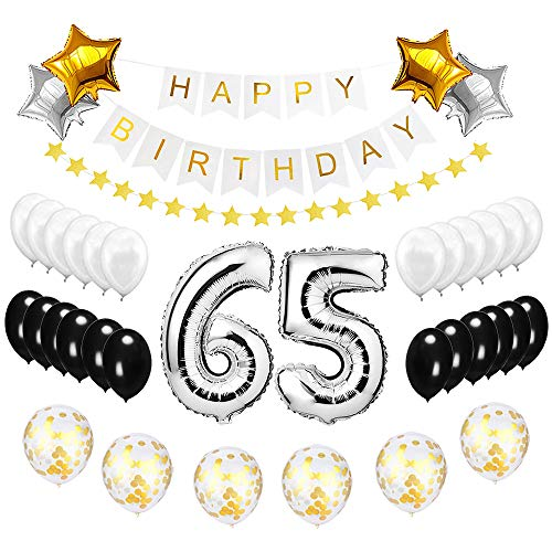 Best Happy to 65th Birthday Balloons Set - High Quality Birthday Theme Decorations for 65 Years Old Party Supplies Silver Black Gold