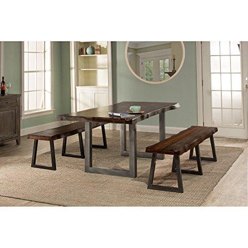 3-Pc Rectangular Dining Set in Gray Finish