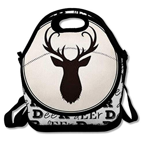 Lunch Bag for Women Insulated Front Stag Head Black Deer Framed White Circle On Text Pattern Wildlife Antler Lunch Box Tote for Work or School (Deer Framed Head)