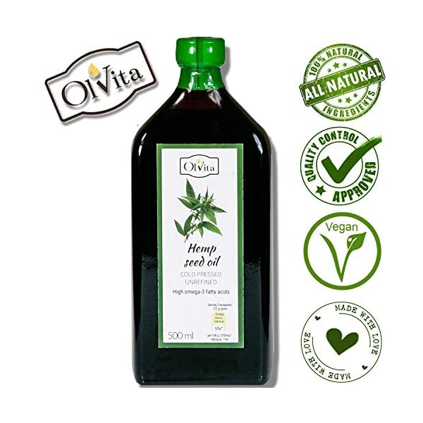 Ol'Vita: Cold Pressed Hemp Seed Oil – Raw Unrefined NO Additives – Pure and Natural Supplement 500ml
