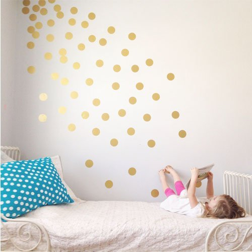 """Vinyl Polka Dot Removable Wall Decals (Gold, 2"""")"""