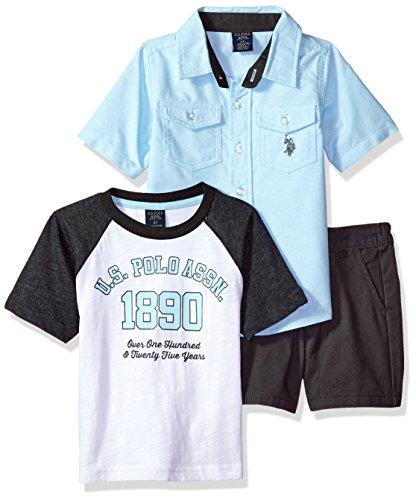 U.S. Polo Assn. Toddler Boys' Sleeve Shirt, T-Shirt and Short Set, US Polo Assn Printed Multi Plaid, 4T (T-shirt Sleeve Set)