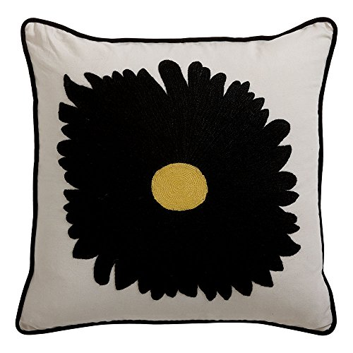 Ethan Allen Black Gerber Daisy Crewel Pillow (Pillows Crewel)