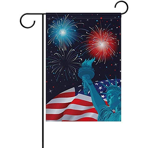 HUVATT Freedom America Firework The Statue Liberty Garden Flag Home Polyester Fabric Mildew Resistant Welcome House Yard -