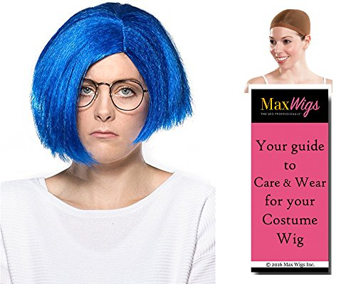 Sadness Inside Out Color Blue - Enigma Wigs Women's Sad Emotion Personality Bundle With Wig Cap, MaxWigs Costume Wig Care Guide