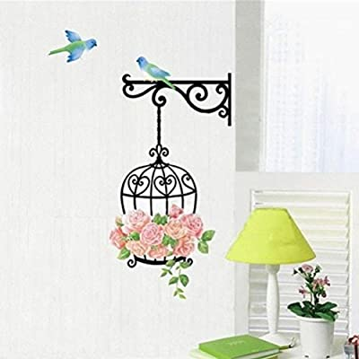 Iuhan® Fashion Rose Flower Bird Wall Decal Sticker Home Decor Vinyl Removeable Mural Sticker