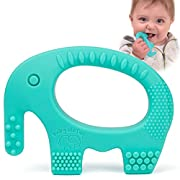 Baby Teething Toys - Adorable Turquoise Silicone Elephant Teether BPA Free - Best for Girl Or Boy Infant Newborn 3 6 12 Months/1 Year Old Cool Sensory Learning Baby Shower and Easter Gifts