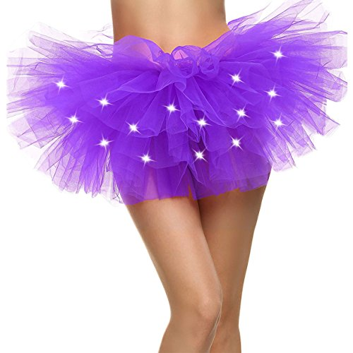 LED Tu tu Light Up Neon Tutu Skirt for Party Stage Costume Show Nightclub,Purple (Neon Tutu For Women)