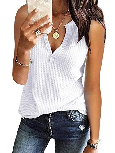 Famulily Women's Waffle Knit Sleeveless Shirt Loose V Neck Thermal Tops and Bloue White Medium