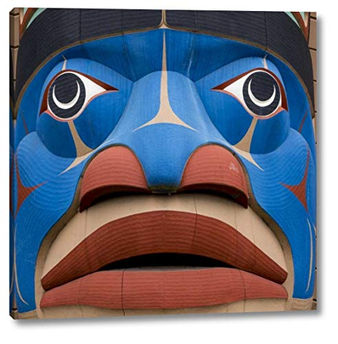 """USA, Washington State, Jamestown Totem Art PR -30 by Don Paulson - 19"""" x 19"""" Gallery Wrapped Giclee Canvas Print - Ready to Hang"""
