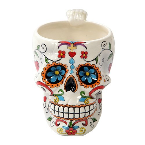 Pacific Giftware Colorful Day Of The Dead Skull Head Ceramic Drinking Mug ()