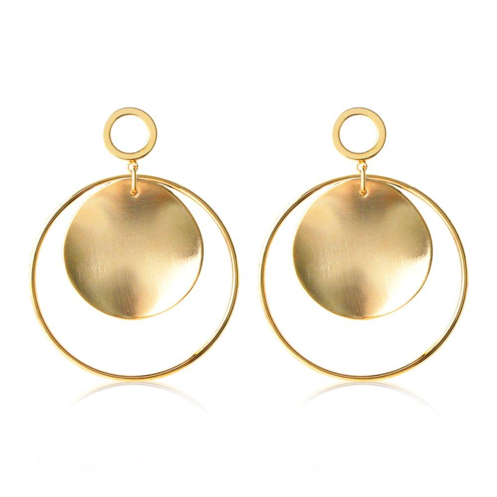 Gold Silver Hoop Earrings with Disc Stainless Steel Statement Dangle Earrings for Women Girls ZeusGem ME002