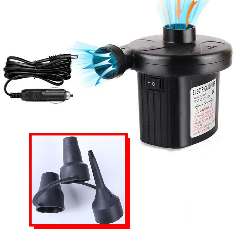 Black Electric Air Pump Airbed Pump Air Mattress Pump Travel Inflator Deflator Portable Inflate Pump for Pools Inflated Toy Boats raft Airbeds