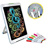 Discovery Kids Neon Glow Drawing Easel w/ Color Markers, Built-In Kickstand/Wall Mount, Choose from 6 Light Modes, Easy to Clean/Washable, Wide Screen, Flat Storage, Great For Children, MULTICOLOR