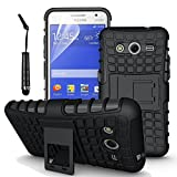 Accessories Collection Samsung Galaxy Core 2 G355H - Stylish Hard Back Armor Shock Proof Case with Back Stand Feature & Free Screen Protector