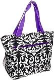 Silverhooks Womens Damask Beach Tote Bag w/Purple Trim (Black & White) Review