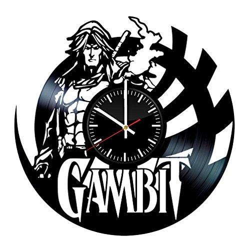 Gambit Original Costume (Gambit Vinyl Records Wall Clock - Comics Original Present For Gambit Fans - Handmade Art Decoration For Room - Vintage And Modern Style)