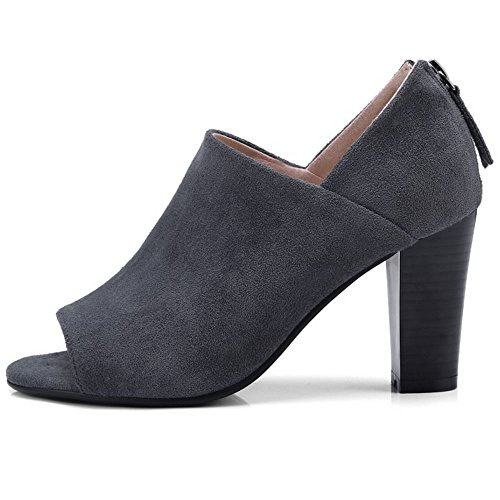 Gray Femmes Escarpins Peep RAZAMAZA Dark Toe Chunky aOAwq0