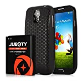 Galaxy S4 Battery/JUBOTY 6000mAh Replacement Li-ion S4 Extended Battery and Black Back Cover and TPU Case(24 Month Warranty)