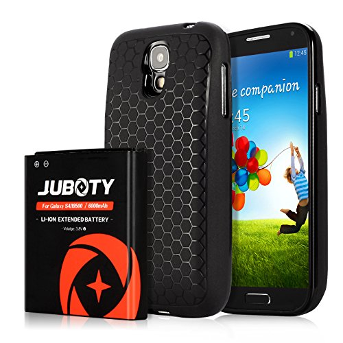 Galaxy S4 Battery/JUBOTY 6000mAh Replacement Li-ion S4 Extended Battery & Black Back Cover & TPU Case/Samsung S4 Battery(24 Month Warranty) ()