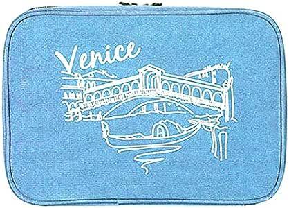 حقيبة أدوات تجميل قابلة للتعليق ومقاومة للماء - حقيبة سفر لمستحضرات التجميل للنساء ومنظم أدوات الحلاقة للرجال باللون الأزرق