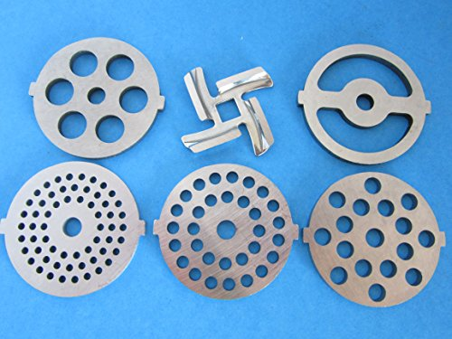 6 pc Set replacement knife and discs for Waring Pro Kalorik, Sunmile, Oster, Rival, Back to Basics Meat grinder