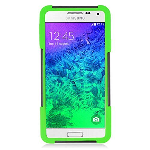 Galaxy Alpha Case, Eagle Cell Dual Layer [Shock Absorbing] Protection Hybrid Stand PC/Silicone Case Cover For Samsung Galaxy Alpha SM-G850A (ATT)/SM-G850T (T-Mobile), Black/Green
