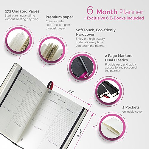 The Ultimate Agenda & Daily Planner to Boost Productivity, Hit Your Goals & Reach Happiness in 2018 – Best Day Journal – Personal Weekly Monthly Organizer – Undated Notebook Calendar