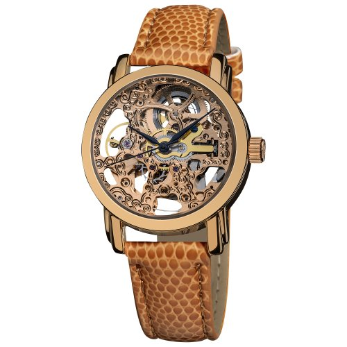 Akribos XXIV Women's Skeleton Automatic Watch - Stainless Steel Face and Leather Dress Band Watch - AK431