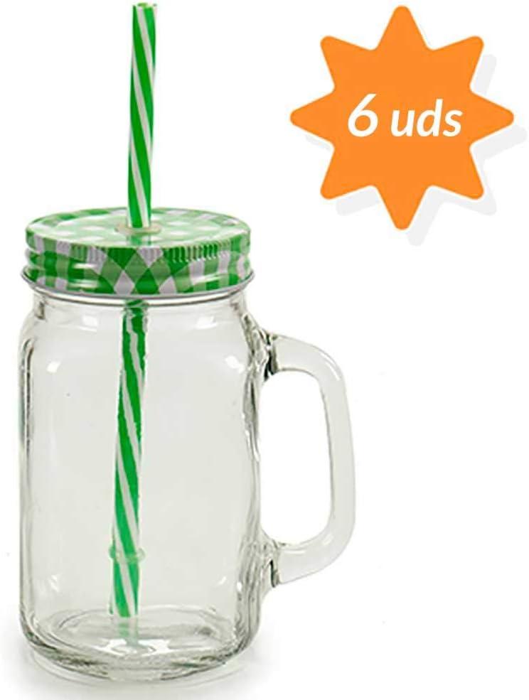 TAPAS & ENVASES RIOJA Vasos Jarras de Agua Cristal con Pajita Reutilizable y Tapa jarras de Vidrio para Cerveza, Agua, Botes con Pajita para Beber Pack de 6 Unidades de Colores de 430 Ml