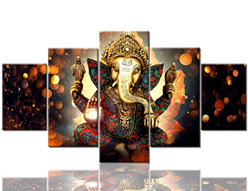 TUMOVO Lord Ganesha Canvas Paintings Wall Decor Ganesha Pictures for Living Room Deity Festival Giclee 5 Piece Hindu God Artwork Home Decorations Posters and Prints Framed Ready to Hang(60''Wx32''H) (Best Pooja Room Designs)