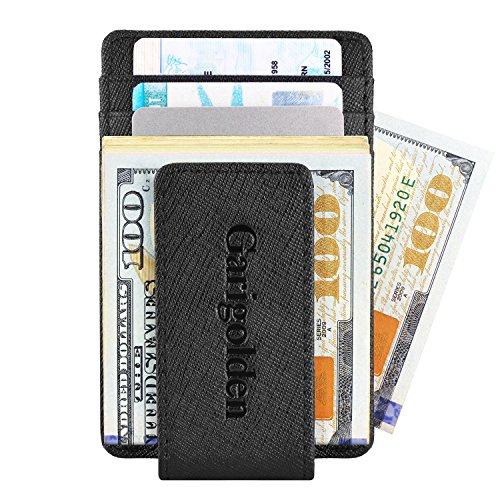 Garigolden Money Clip, Leather RFID Blocking Wallet for Men (Crosshatch, Black) (Best Way To Beat Slot Machines)