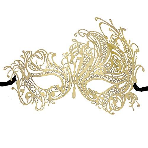 Coxeer Venetian Masquerade Mask Women's Swan Metal Filigree Laser Cut Mask