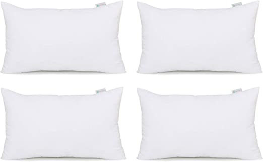 White Hypoallergenic Decorative Square Pillow Form Insert with Zips HIPPIH 18 x 18 Pillow Inserts Set of 2