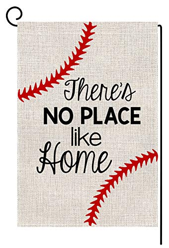 Baseball House Flag - Baseball Small Garden Flag Vertical Double Sided 12.5 x 18 Inch Burlap Yard Outdoor Decor (No Place Like Home)