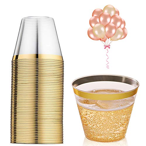 100 Gold Party Cups & 20 Party Balloons - 9 Oz Hard Plastic Cups Old Fashioned Tumblers - Disposable Cups Reusable Cups and 20 Rose Gold & Champagne Balloons (100Cups+20Balloons)