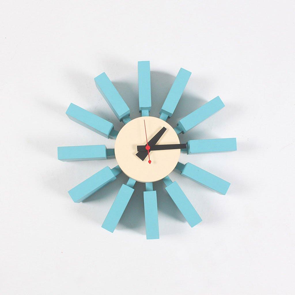 ヨーロッパの創造的な壁時計青い家のアクセサリー創造的なDIYリビングルーム無垢材 B07CSPSXHB