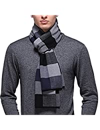 PENAGY Mens Australian Wool Cashmere Scarves Plaid Stripes Long Soft Winter Warm Scarf for Gentleman