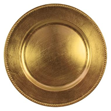 Charge it by Jay Gold Beaded Round Charger Plates, Set of 4
