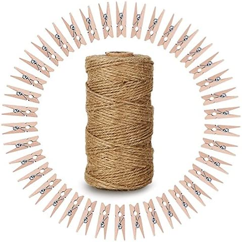 Natural Twine Wooden Clothespins Photo product image