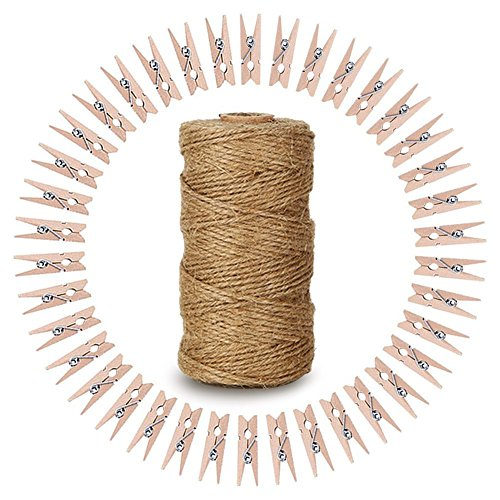 - KINGLAKE 328 Feet Natural Jute Twine with 100 Pcs Mini Natural Wooden Clothespins Photo Pegs Craft Pictures Clips