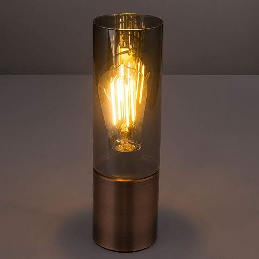 Tisch Leuchte Wohnraum Nacht Licht Kupfer Farben Rauch Glas Lampe Touch Schalter