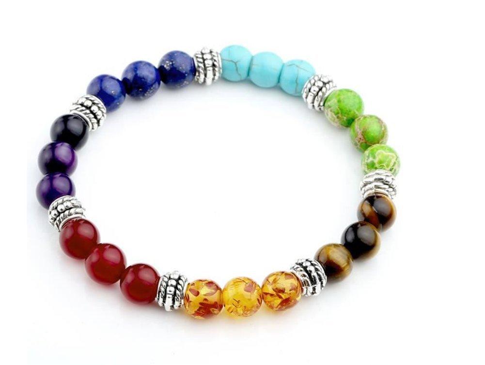 Skyeye Pierre Bracelet Am/éthyste Agate Bijoux Tigre Perle Pierre Bracelet Seven-color 8/mm Perle ronde Rainbow 7/Chakra Bracelet couleur rouge
