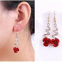 Meenanoom Fashion Womens Crystal Red Rose Flower Dangle Drop Earrings Jewelry Gift