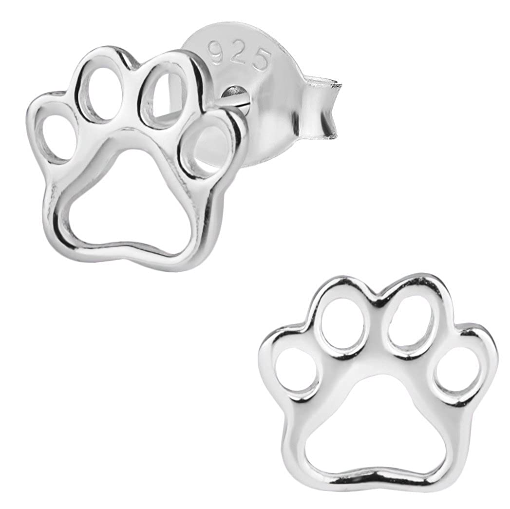 Hypoallergenic Sterling Silver Puppy Paw Print Stud Earrings for Kids (Nickel Free) Penny & Piper UK_B01LZLCW0P